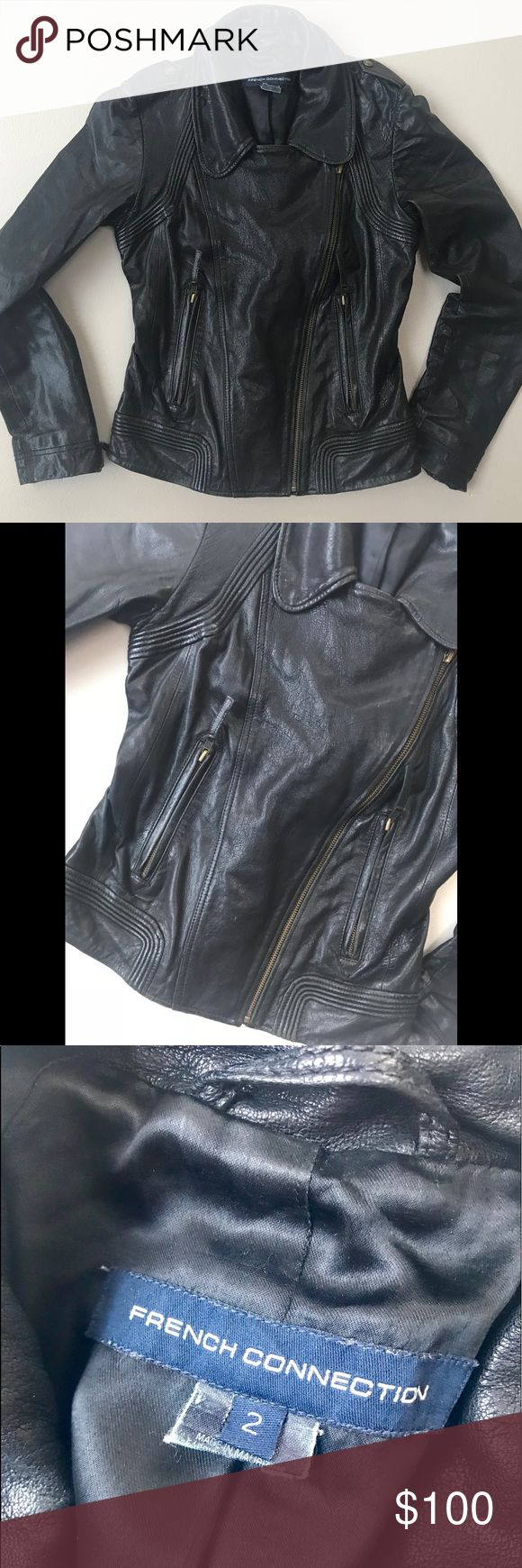 French Connection Leather Jacket Leather jacket light wear on left sleeve French Connection Jackets & Coats