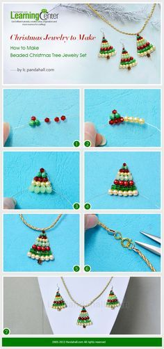 Christmas Jewelry to Make – How to Make Beaded Christmas Tree Jewelry Set