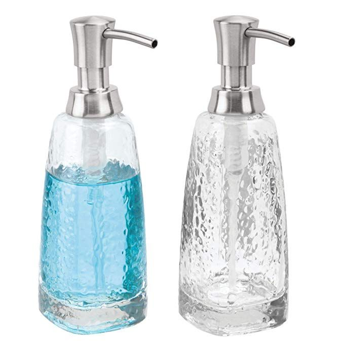 Amazon Com Mdesign Modern Glass Refillable Liquid Soap Dispenser