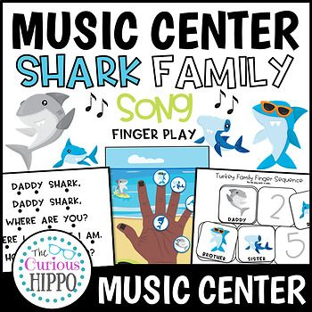 "This interactive shark family song pack includes: - song lyrics with follow along rhythm dots - 2 hands with scenery (1 African American, 1 Caucasian) - Shark Family hand ""puppets"" to go with the hand page. - Shark Family sequence cards - with words /"