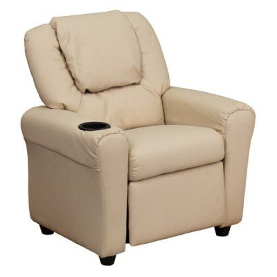 Flash Furniture Vinyl Kids Recliner with Cup Holder and Headrest - Beige - DG-ULT-KID-BGE-GG