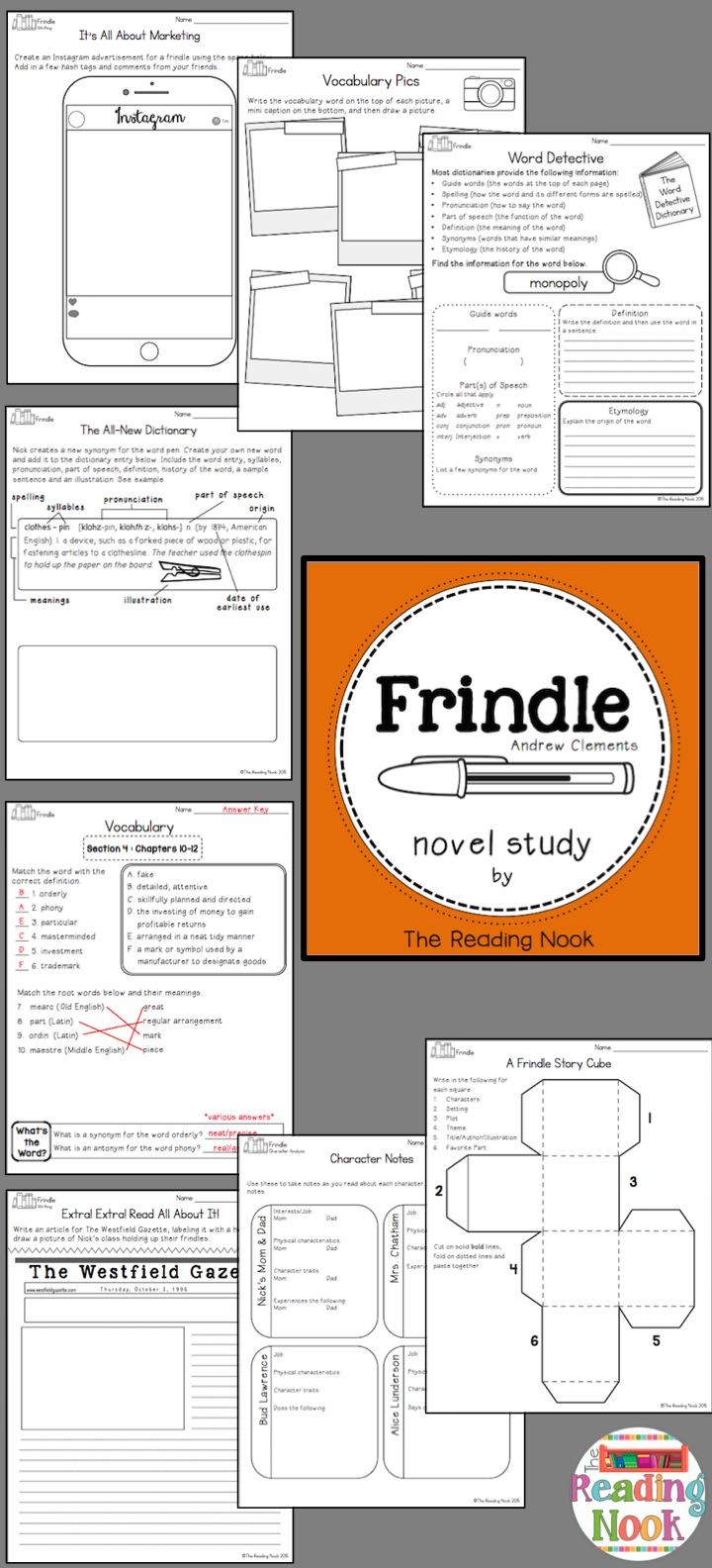 Frindle Novel Study-complete and engaging resource! Includes comprehension, vocabulary, assessments and more!