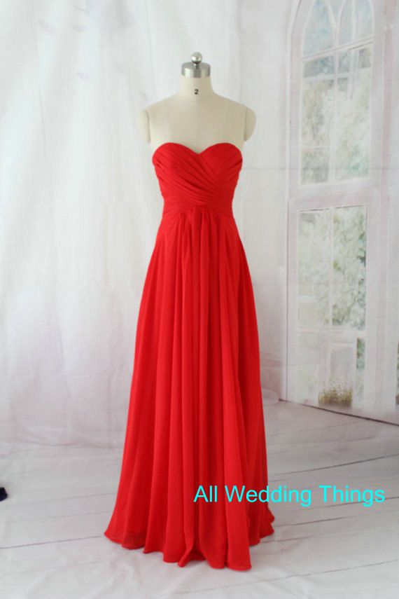 Red Bridesmaid dress, long prom dress , evening formal dress, party dress, homecoming dress on Etsy, $119.24 CAD