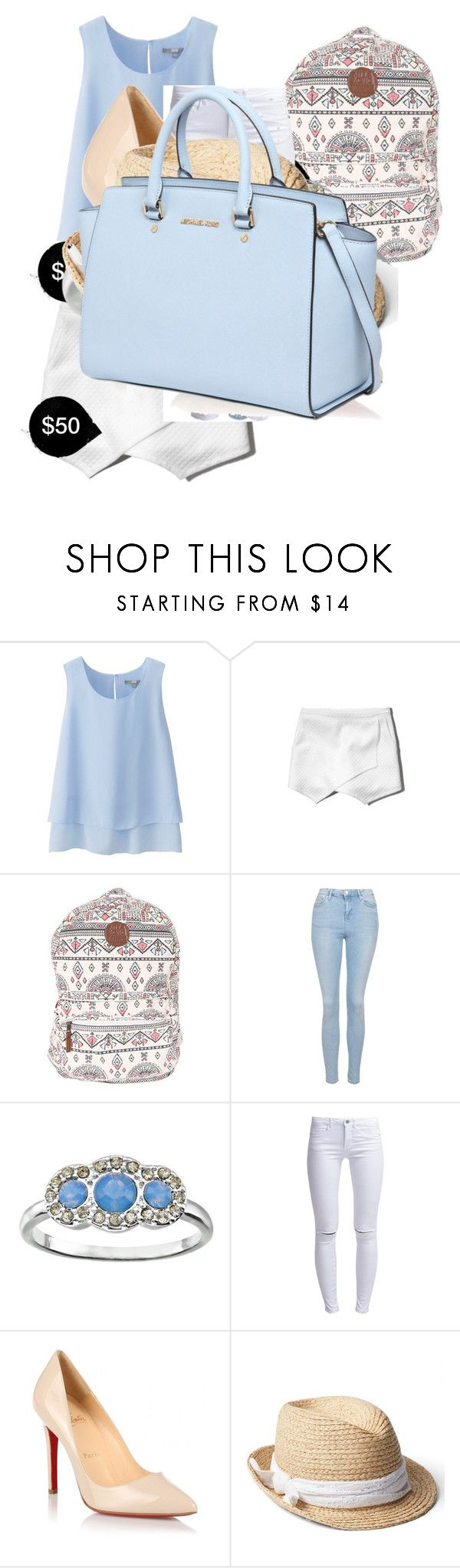 """""""My First Polyvore Outfit"""" by suzanne-hicks ❤ liked on Polyvore featuring Uniqlo, Abercrombie & Fitch, Billabong, Topshop, LC Lauren Conrad, ONLY, Christian Louboutin, Gap and MICHAEL Michael Kors"""
