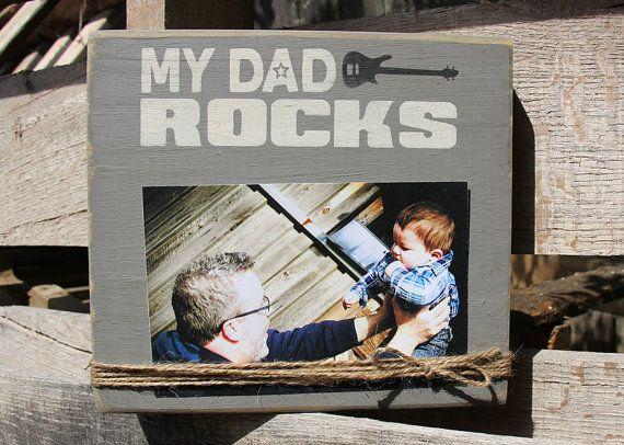 Rustieke handgeschilderde mijn papa Rocks Picture Frame - 4 x 6 fotolijstjes - Rockstar Dad - nieuwe vader Gift - papa Picture Frame - nieuwe papa cadeau