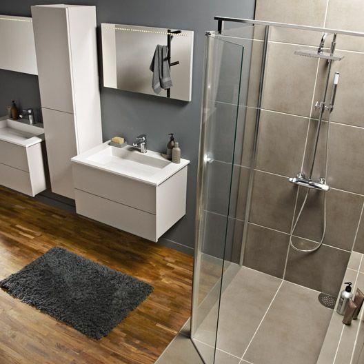 Leroy merlin - Meuble de salle de bains Cosmo, gris tourterelle - 655€ l'ensemble