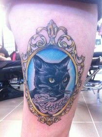 cat frame tattoo | Cool Stuff | Pinterest | Frame Tattoos Frames and ...
