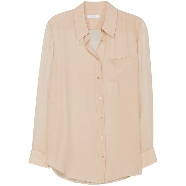 Equipment Reese With Contrast Nude Long Sleeve Shirt (455 BRL) ❤ liked on Polyvore featuring tops, nude with contrast, oversized long sleeve shirt, long-sleeve shirt, sexy shirts, sexy long sleeve shirts and long sleeve tops