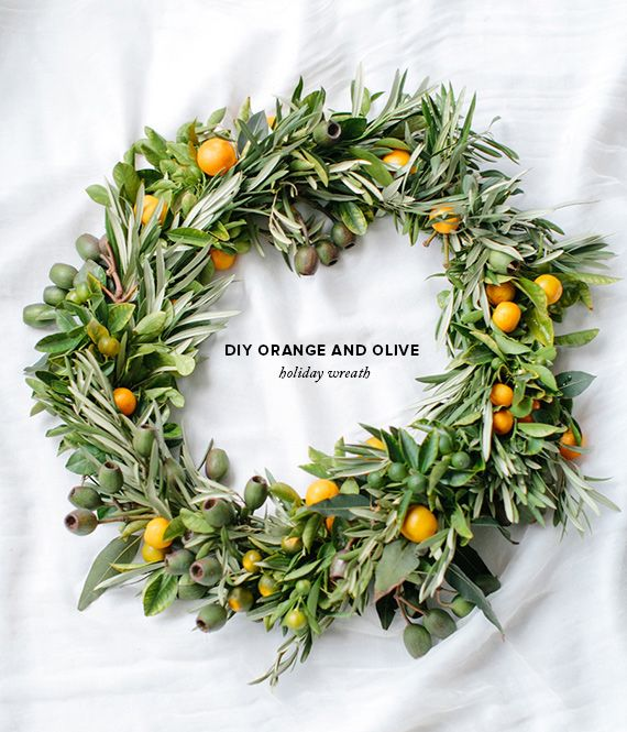 DIY orange & olive holiday wreath | concept & styling by Type A Society | Photo by Josh Gruetzmacher | 100 Layer Cake