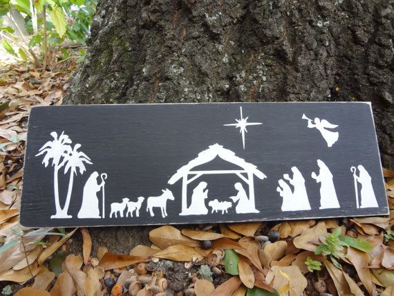 Nativity Silhouette by PurePaintedSigns on Etsy