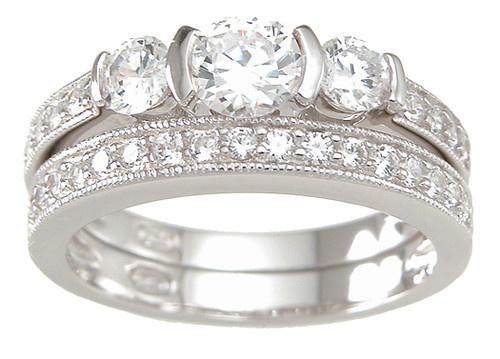 1.30 CARAT .925 STERLING SILVER ROUND 3 STONE WEDDING ENGAGEMENT RING SET | eBay