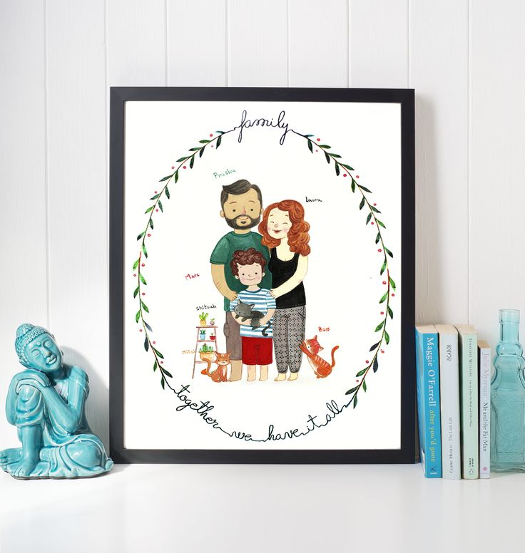 A perfect gift for any occasion. Custom watercolor illustration of your family, pets, significant other or children