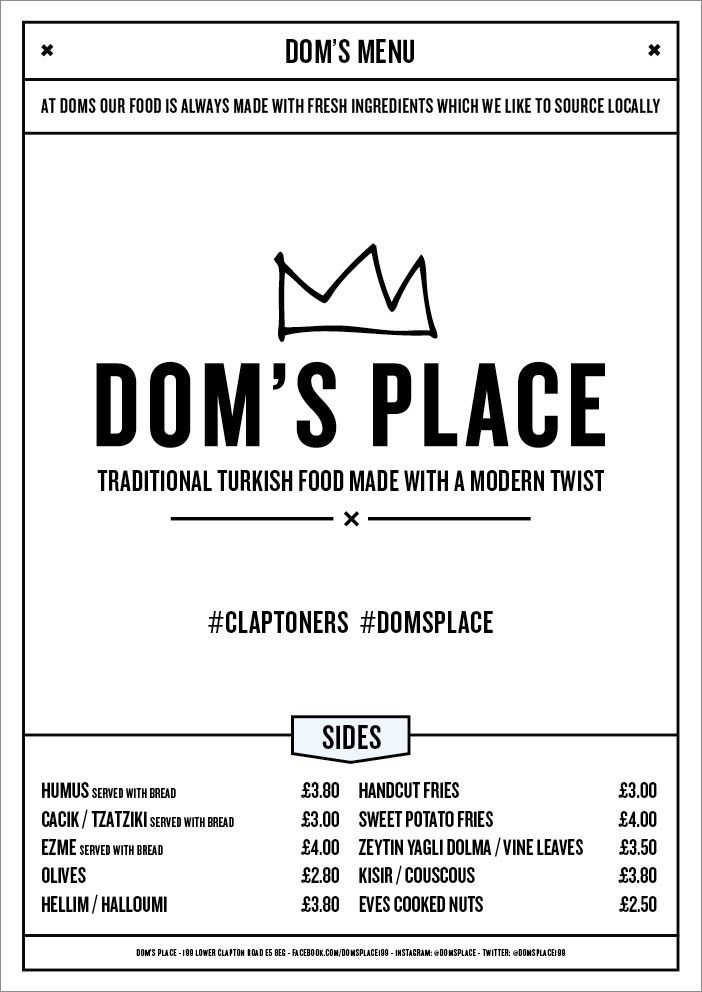 Dom's Place - Turkish Wraps, Cocktails, Late Licence. Lower Clapton Road.