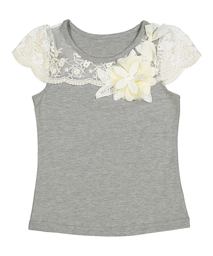 This Frills du Jour Gray & Ivory Lace-Accent Flower Top - Infant, Toddler & Girls by Frills du Jour is perfect! #zulilyfinds