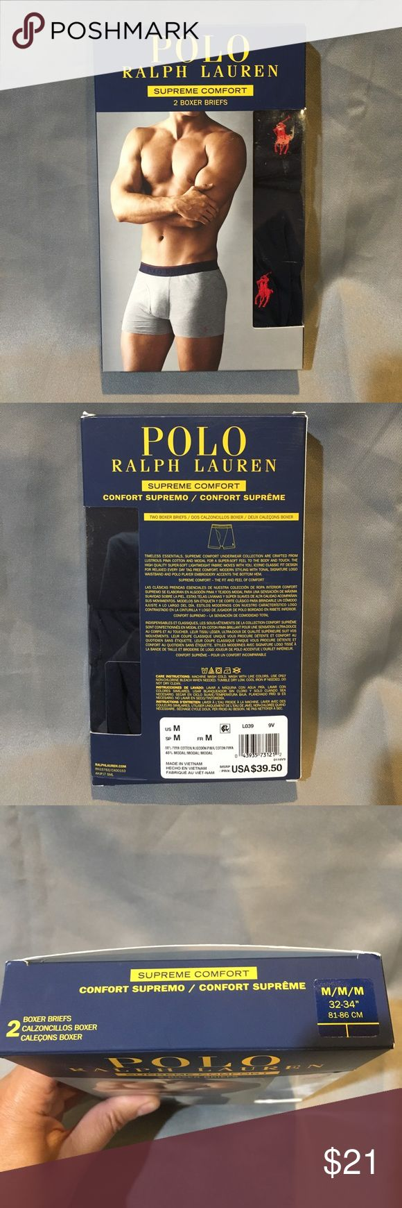 NWT Polo Ralph Lauren Navy  2 Pair Boxer Briefs NWT Polo Ralph Lauren Navy 2 Pair Boxer Briefs. Comfort Supreme.  Available in black size medium and gray size large. Polo by Ralph Lauren Underwear & Socks Boxer Briefs