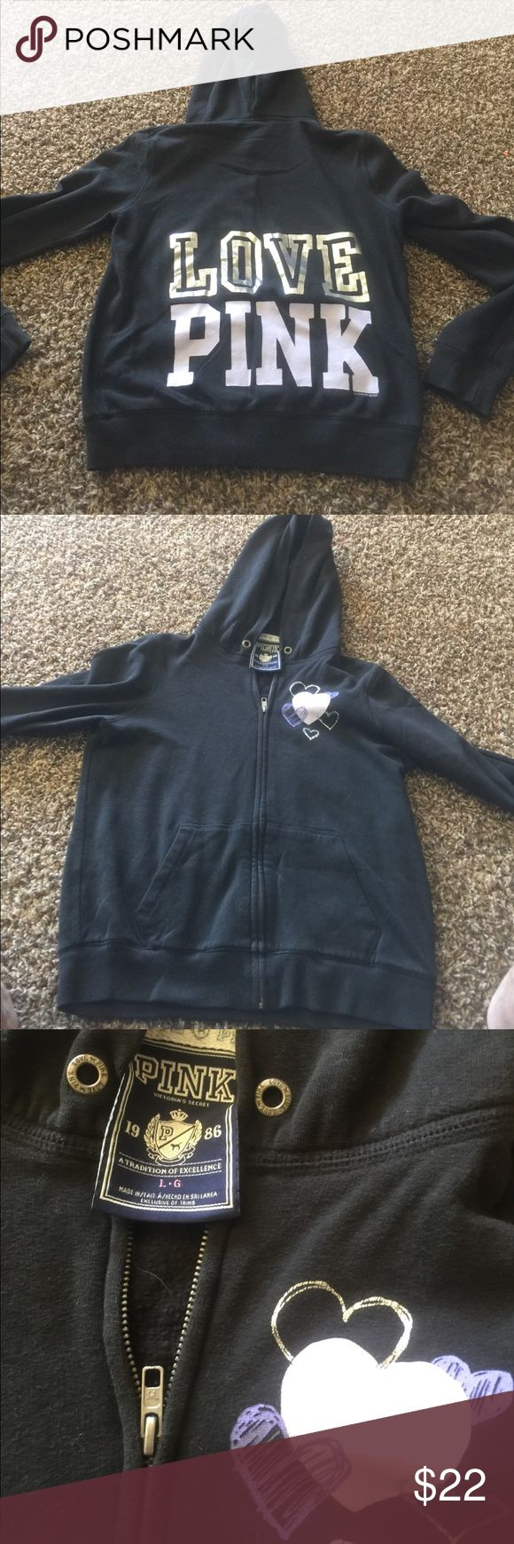 Pink zip up sweatshirt large Used but good condition.  Missing strings as soon in picture.  Purple Hearts on the front left upper side Love Pink on the back. PINK Victoria's Secret Tops Sweatshirts & Hoodies