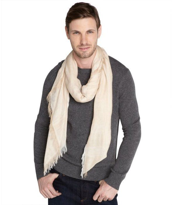 $149, Beige Scarf: Gucci Beige Striped Gauze Lightweight Scarf. Sold by Bluefly. Click for more info: http://lookastic.com/men/shop_items/93201/redirect