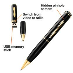 Have you ever wished that you were a secret agent with all those too cool gadgets? You can now start your arsenal of spy gadgets with a spy pen camera. The Swann DVR-421 PenCam is a fully functional black ballpoint pen that has a hidden pinhole camera. The PenCam can take both still pictures and video clips.