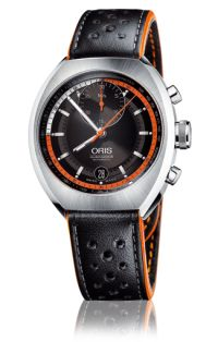 Chronoris combines the style of the 1970 original with the latest developments in High-Mech technology. This includes the additional minute counter positioned at 12 o'clock, tachymeter scale on the inner dial ring, and the Quick Lock system to secure the big crown. The black and orange leather strap emphasises the sports styling of the chronograph.