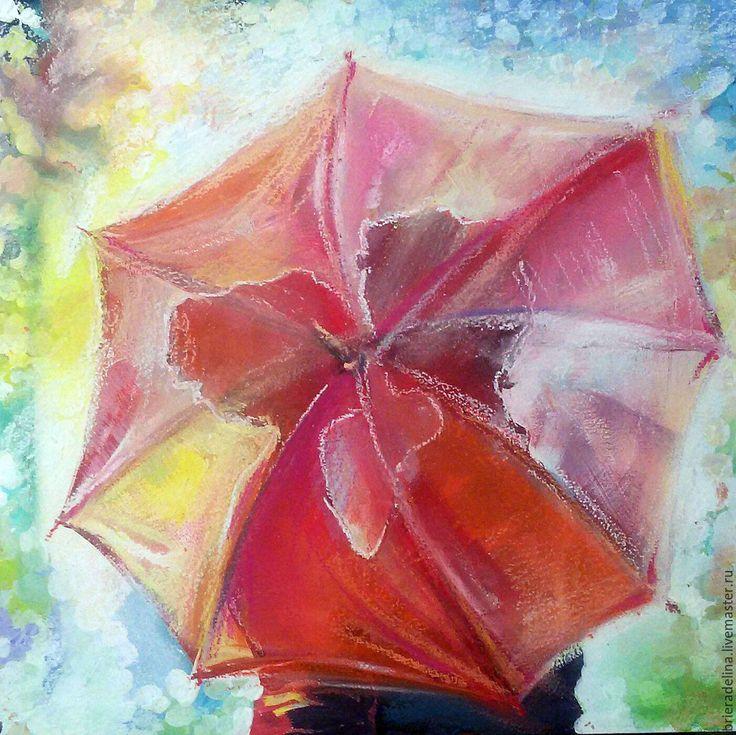 """Купить """"Двое"""" - ярко-красный, зонт, двое, любовь, подзонтом, гуашь, пастель, грунтовый картон"""