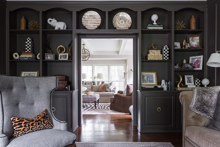 "This Leawood homeowner was inspired by a ""menswear, Ralph Lauren-look"" when renovating her living room."
