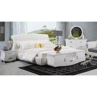 Metta Modern White Leather Bed Frame