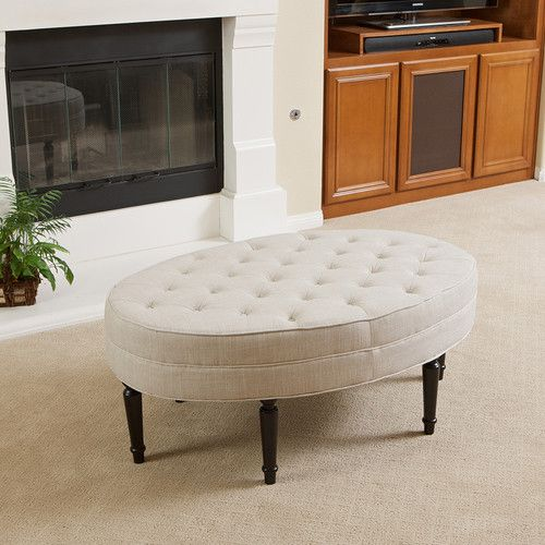 Tufted top linen upholstered oval ottoman coffee table w button acce Linen ottoman coffee table