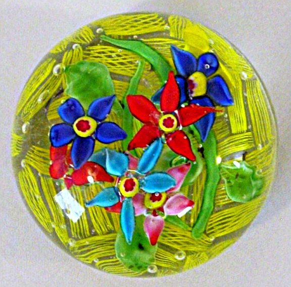 Chinese latticino floral paperweight