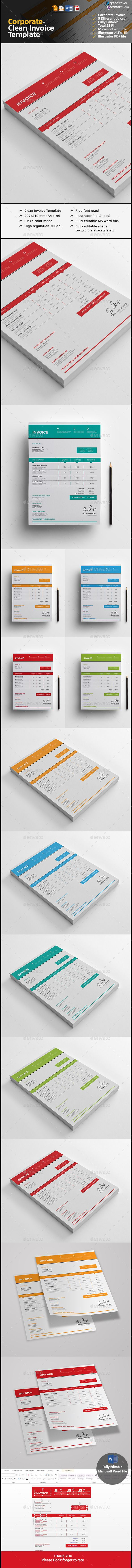 Corporate Invoice Template is very easy to use and change text,color,size,look and everything and included AI,EPS,doc,docx & PDF File so please don't worry about changing
