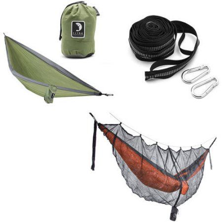 Tribe Provisions Hammock Start Kit: Hammock, Tree Straps and Mosquito Net, Green