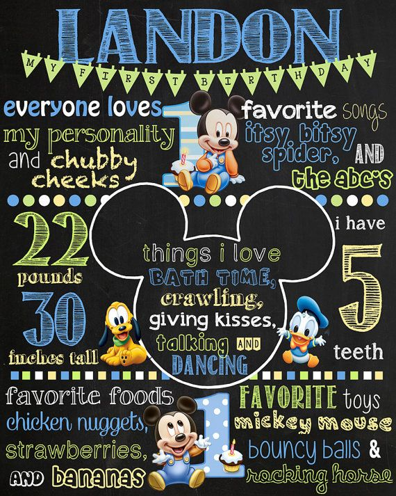 Baby Mickey Mouse Birthday Chalkboard Sign    DIGITAL FILE ONLY    This item is completely customizable. Please let me know your deadline date