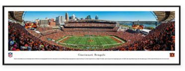 $99 - NFL Cincinnati Bengals 50-Yard Line Paul Brown Stadium Standard Panoramic Framed Picture - This stunning NFL Cincinnati Bengals Standard Panoramic Framed Picture depicts the excitement of a game at Paul Brown Stadium. The amazing high-resolution photo is reproduced on heavy art paper with UV-resistant ink and framed under tempered glass.