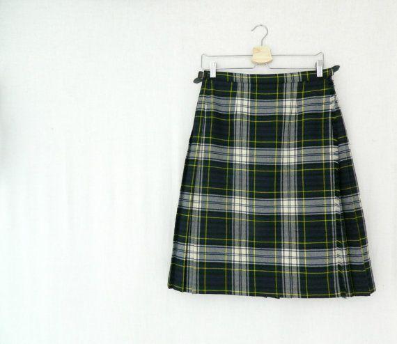 ELSPETH . vintage women's tartan skirt kilt by ThePaisley5Vintage