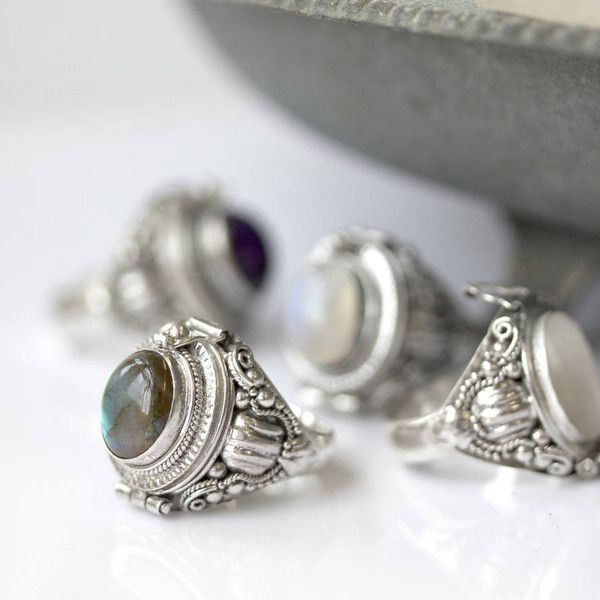 RegalRose Sterling Silver Poison Trinket Ring With Gemstone ($40) ❤ liked on Polyvore featuring jewelry, rings, gypsy ring, chunky jewelry, sterling silver rings, sterling silver gemstone jewelry and gem jewelry