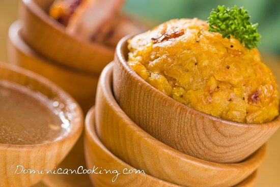 Mofongo (Puerto Rican mashed, fried plantain dish flavored with pork cracklings [I've seen recipes that use bacon] and garlic)