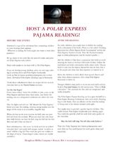 Host a pajama reading party for The Polar Express during the Christmas season. This packet includes reproducible party ideas, event invitations, train tickets, nametags, and party recipes. https://www.teachervision.com/christmas-activities/printable/75609.html