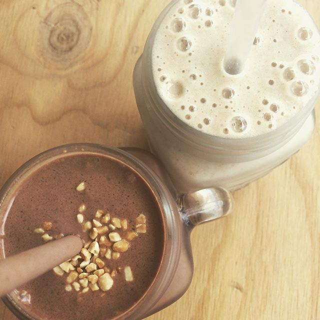 Smoothies taste nicer in jars :P chocolate peanut butter shake and vanilla & cinnamon protein punch