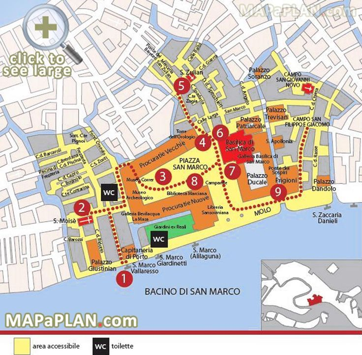 Marciana area St Marks Square Piazza San Marco Palazzo Ducale Venice top tourist attractions map