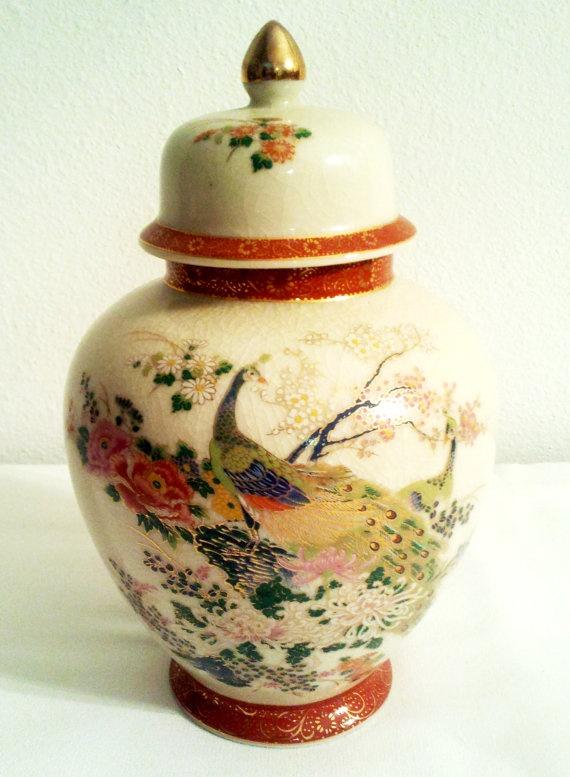 Striking Satsuma Pottery Ginger Jar 1979 Cream Colored