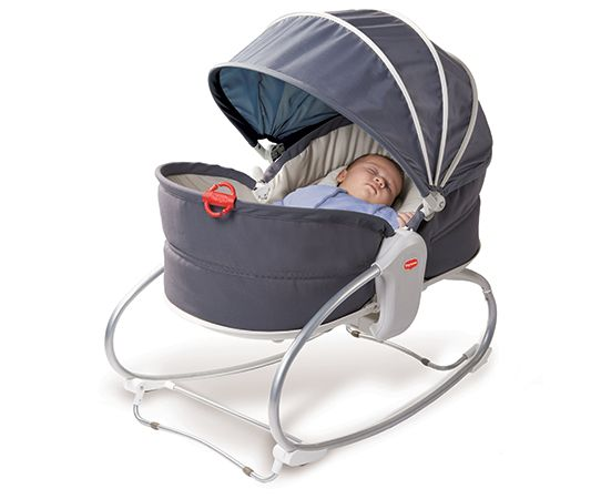 "Tiny Love Cozy Rocker Napper: This simple sleek design performs three functions and for that we love it. Set it flat and it can be a cozy naptime spot outfitted with calming vibrations and music. Set it at an angle and baby can sit up to play or adjust the ""feet"" and it converts into a rocker."