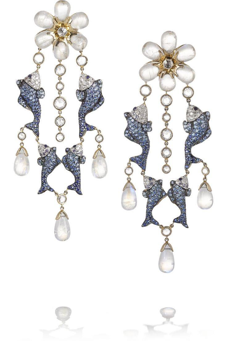 Lydia Courteille | 18-karat gold moonstone, sapphire and diamond earrings | NET-A-PORTER.COM