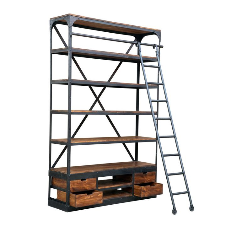 Industrial Shelf Unit With Ladder Retail Display Andy