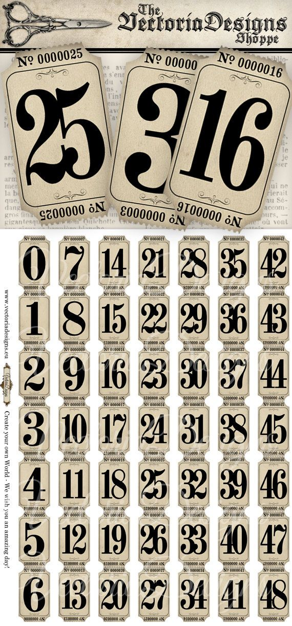 Vintage Tickets Strips with Numbers vintage hobby crafting printables digital graphics instant download digital collage sheet - VD0775
