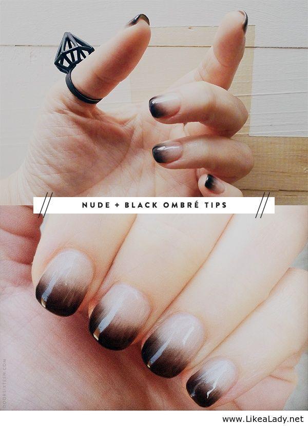 Nude and black ombré Calgel manicure