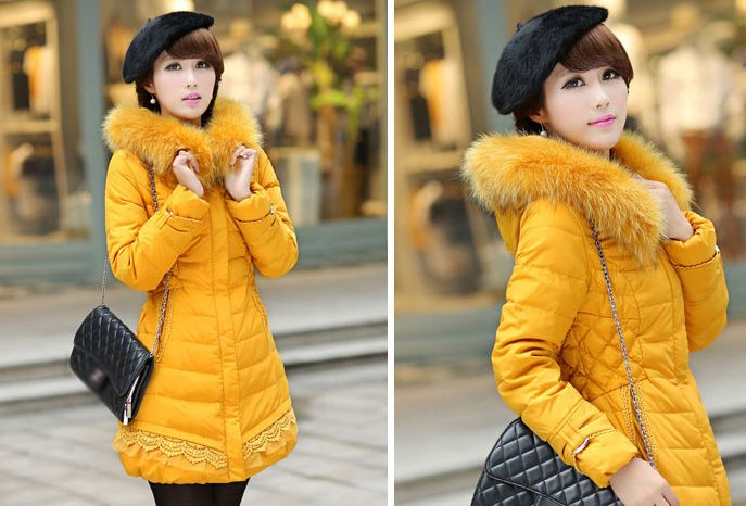 Classic Look All Match Lace Split Joint Fur Hooded Down Coat Zip Up Pocket Button 2 Solid Color Oversize Coat Item No. XHT110609B Jaket Mantel hoodies gaya kasual ini cocok menemani aktifitas Anda ...