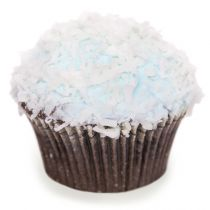 Blue Snowball  Chocolate cake, filled with marshmallow fluff and topped with light blue buttercream covered in coconut.