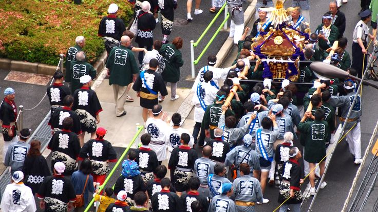 Mikoshi (portable shrine) in a summer festival.