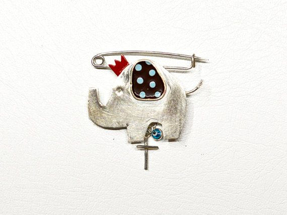 Silver 925 baby elephant pin. Baby boy shower gift. by zOOzART