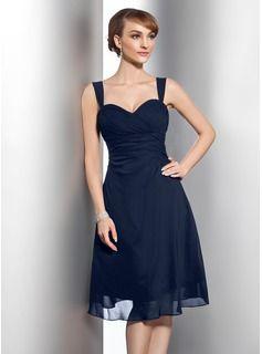 A-Line/Princess Sweetheart Knee-Length Chiffon Bridesmaid Dress With Ruffle (007014743) - JJsHouse