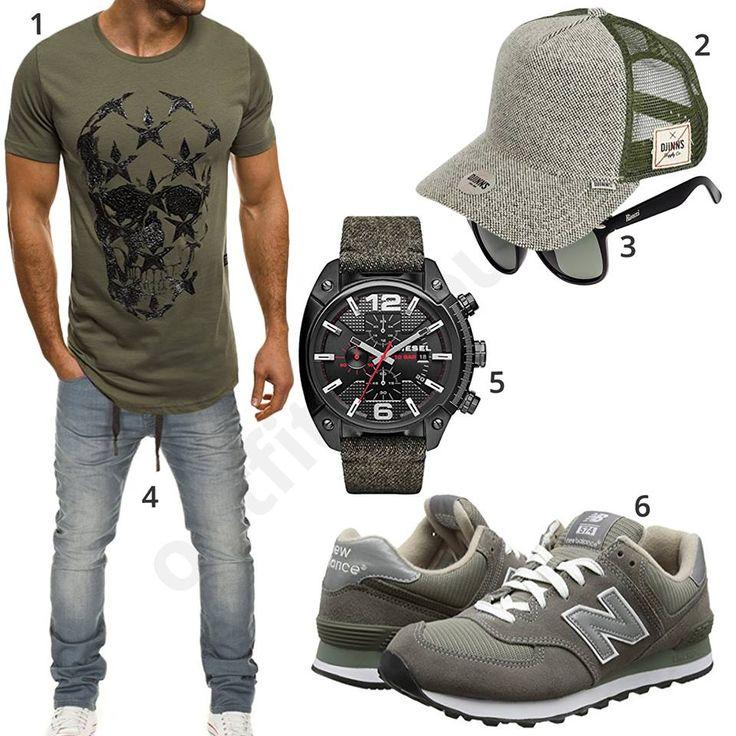 Schickes Outfit mit olivgrünem Ozonee Shirt, Djinns Basecap, Rivacci Sonnenbrille, grauer Wotega Jeans, schwarzer Diesel Uhr und New Balance Sneakern.